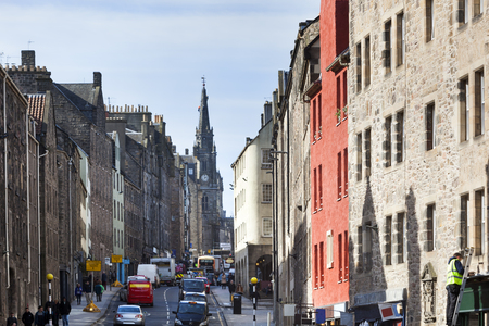 Royal mile in the center of the old town in Edinburgh