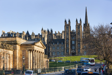 National gallery and new college in the background in Edinburgh