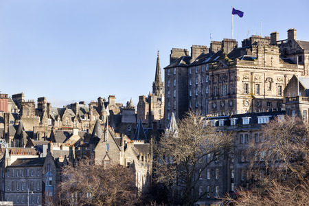View on the old town buildings in Edinburgh