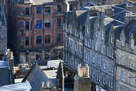 Street with apartments in Edinburgh old town Stockfoto