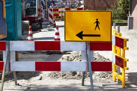 Footpath reconstruction with barriers and signs in the Netherlands Stockfoto