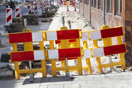Footpath closed with barriers for reconstruction in the Netherlands