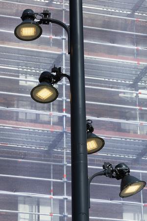 Energy saving led street lights in Rotterdam in the Netherlands Stockfoto