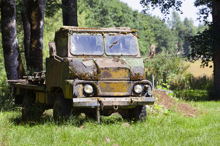 Old weathered military army truck in France