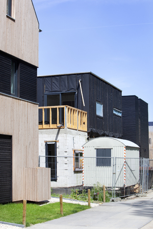 House construction site with  cabin trailer for the workers in Rotterdam in the Netherlands