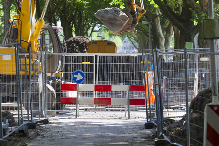 Road barrier because of road construction in Rotterdam in the Netherlands
