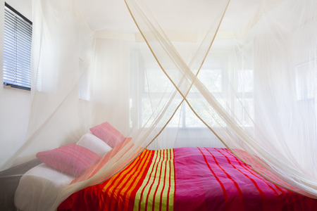 Bed with colorful quilt under a mosquito net Stockfoto