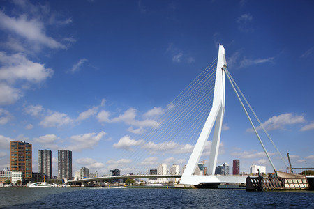 Erasmus bridge seen from the south bank to the center of the city Redactioneel