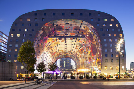 Exterior at twilight of the famous market hall in Rotterdam Redactioneel