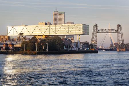 Unilever building Rotterdam with bridge The Hef and the Erasmus bridge in the background Redactioneel