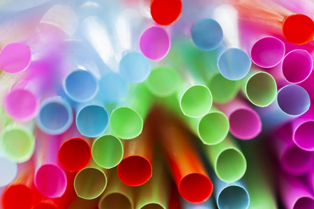 Abstract composition of colorful plastic straws seen  from above Stockfoto