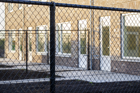 Garden security metal wire fences in a newly built neighborhood in the Netherlands 스톡 콘텐츠