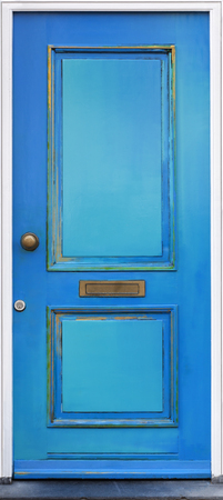 Vintage painted blue door in Schoonhoven in the Netherlands