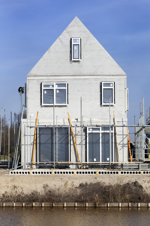 Construction of a house  in the Netherlands 스톡 콘텐츠