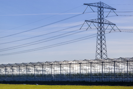 Greenhouse and an electricity pylon in the Netherlands