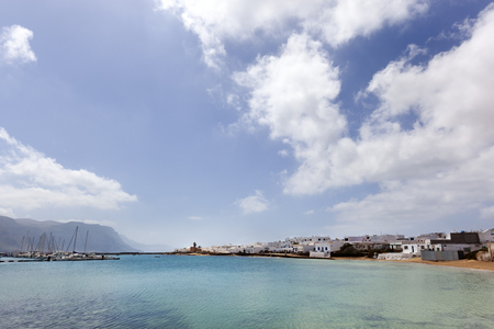 Harbor and coast of Caleta de Sebo on the island La Graciosa of Lanzarote