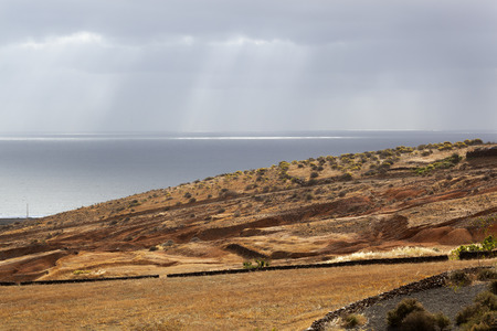Nice sunlight on landscape with sea near Arrieta on Lanzarote