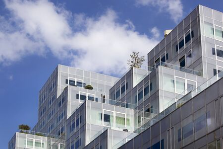 Modern apartments with roof terraces in the center of Rotterdam in the Netherlands Фото со стока