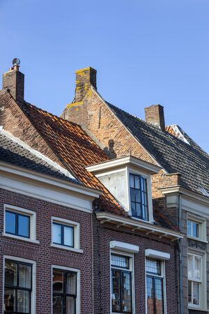 Old traditional tiled roofs in Vianen in the Netherlands