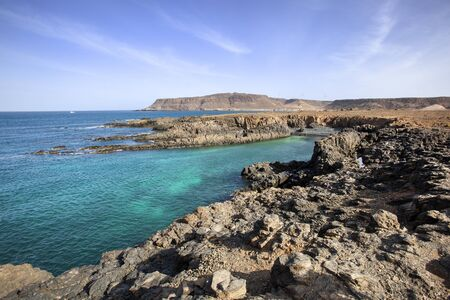View on the rough rocky coast with bays of Sal Rei on Boa Vista in cape Verde