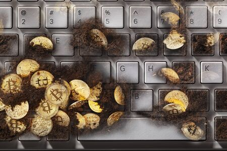 Virtual money concept with keyboard and golden bitcoins