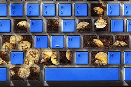 Mining bitcoins or virtual money by computer system with keyboard with blue keys Stockfoto