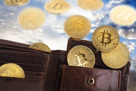Golden bitcoins falling from the sky and ending in a leather wallet. The cloudy weather is as volatile as cryptocurrency