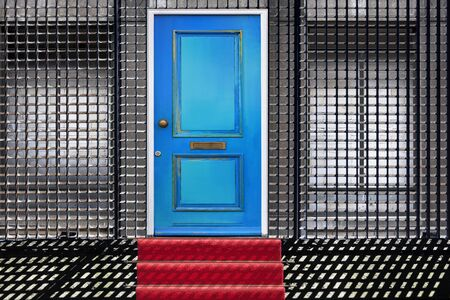 Manipulated photo of a red carpet leading to a building with a blue door and bricked-up windows behind a security fence. Usable for security, protection or insurance concepts