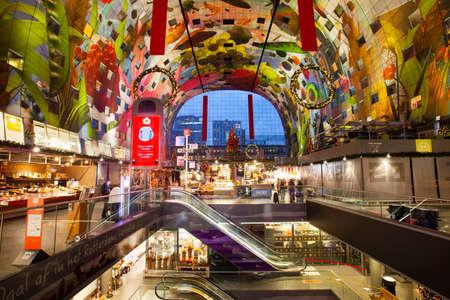 Rotterdam, Netherlands - November 9, 2020: Calm market hall or Markthal interior due to corona pandemic