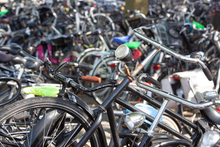 Bicycles parking in a city in the Netherlands