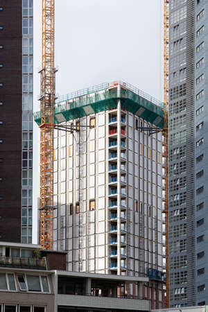 Construction of an apartment building in the center of Rotterdam in the Netherlands