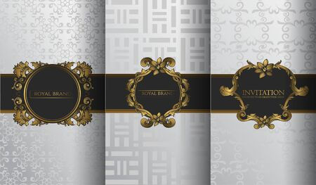 Set of packaging templates with design element ornament, label, logo. made with golden luxury flower on ornament background