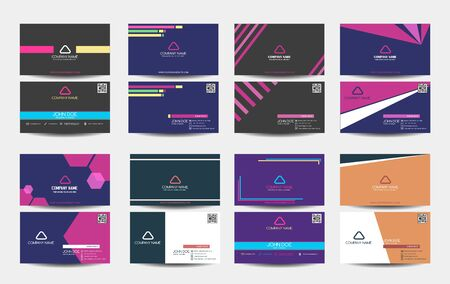 Set of business card with multicolor. retro, Abstract geometric, vector illustration. hipster style, light colors. for company, fashion, modern product.