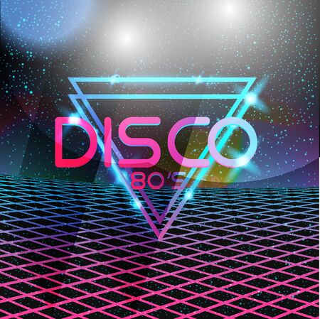 Retro style 80s disco design neon. Landscape with grid of 80s styled retro