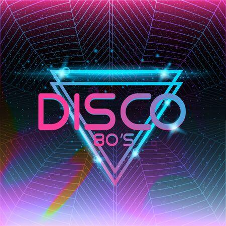 Retro style 80s disco design neon. Landscape with grid of 80s styled retro
