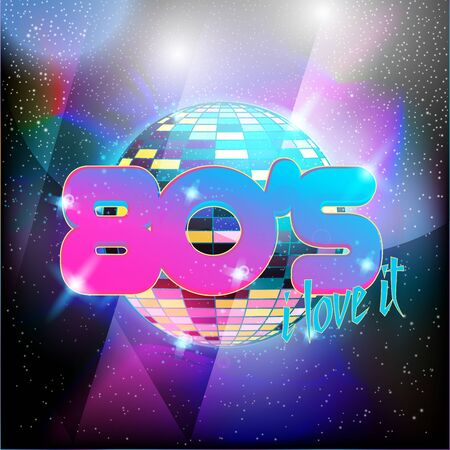 Retro style 80s disco design neon. Landscape with grid of 80s styled retro Ilustración de vector