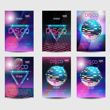 Retro poster style 80s disco design neon. Landscape with grid of 80s styled retro