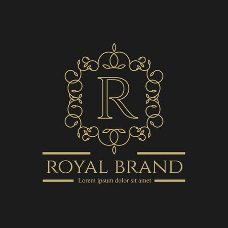 Logo Luxury with vintage color. Royal brand for luxurious corporate