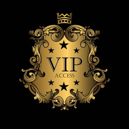 VIP illustration badges decorative frame in vintage style with retro border for premium ornament vector