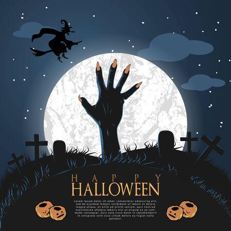Halloween night background with full Moon illustration