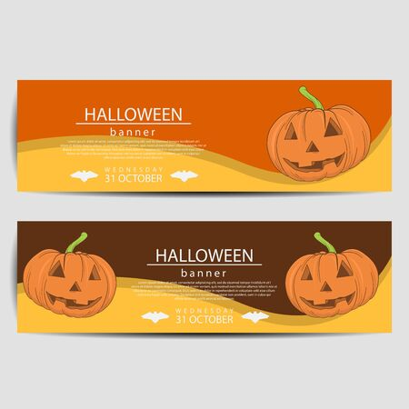 Two Halloween banners, isolated on white background. Vector illustration. 向量圖像