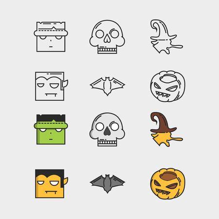 vector set with Halloween illustrations and icons: pumpkin, jack o' lantern, witch, bat, skull, frankenstein, dracula. Isolated on white Ilustração
