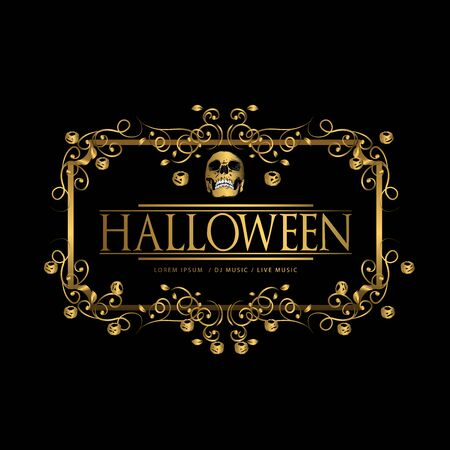 vector set of happy halloween luxury vintage badges, emblems and labels. halloween party templates