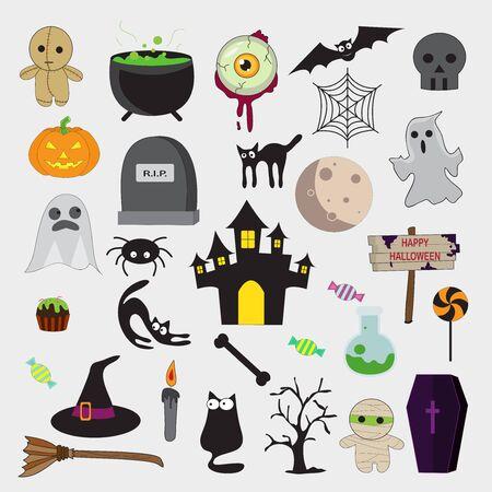 vector set with Halloween illustrations and icons, pumpkin, jack o' lantern, witch, bat, skull, ghost, black cat Ilustración de vector