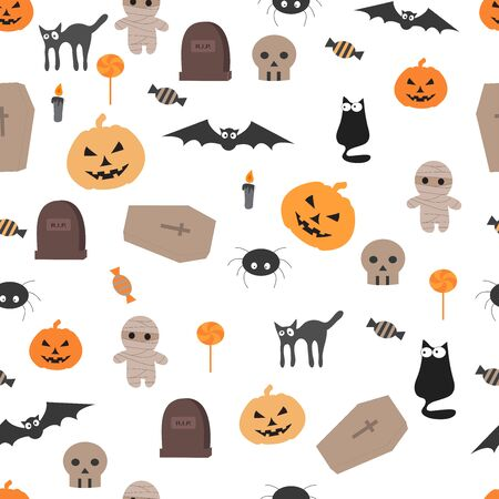 Vector seamless pattern for Halloween. Halloween patterns can be used for scrapbook, paper, textile print, cover. Vector collection of Halloween celebration pattern and spooky party Ilustração