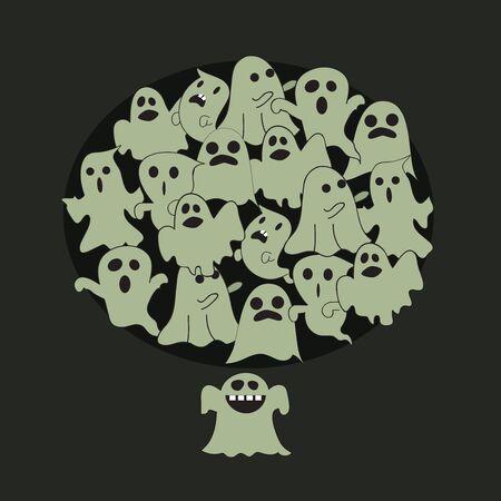 Halloween Character Poses Little Ghost Ilustração