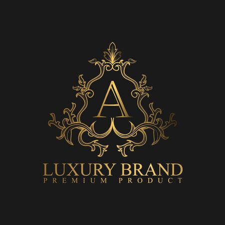 Logo Luxury with Golden Color. Royal brand for luxurious corporate