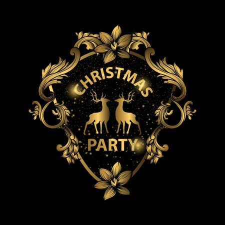 Merry Christmas sparklers in shape of Christmas wreath on black background. Object, Symbol and elements, vector illustration Vector Illustratie