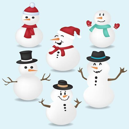 Set of cartoon Christmas illustrations, happy snowman character. For Christmas cards, banners, tags and labels. Illustration