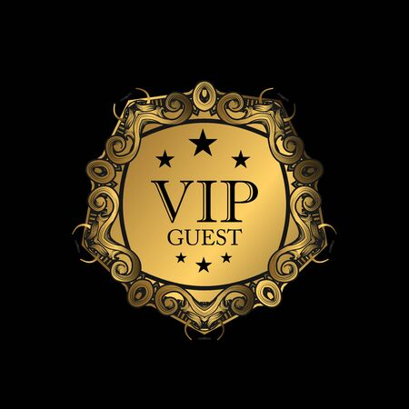 VIP party premium invitation card with luxury gold design. Black and golden design template. Decorative background with ornament pattern